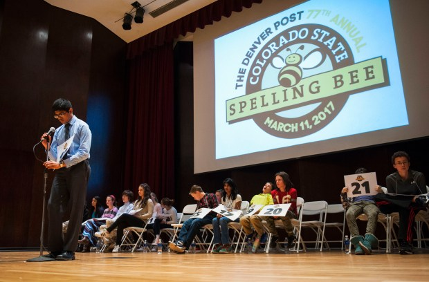 Westlake Middle School eighth grade student Krupakar Subramaniam spells a word during the Denver Post Colorado State Spelling Bee, March 11, 2017 at University of Denver Sturm Hall.
