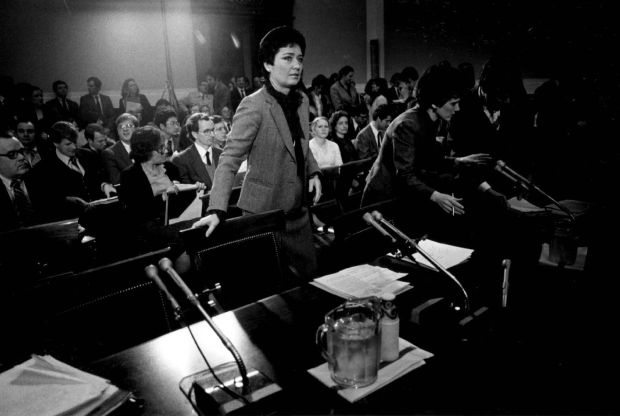 MAY 30 1982 - Anne Gorsuch prepares to testify at a House subcommittee on the reauthorization of the Clean Aid Act.
