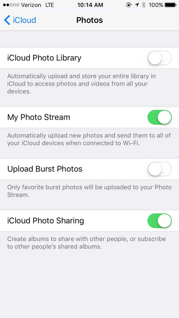 Letting your iPhone automatically back up new photos requires changing the iCloud settings, as pictured here.