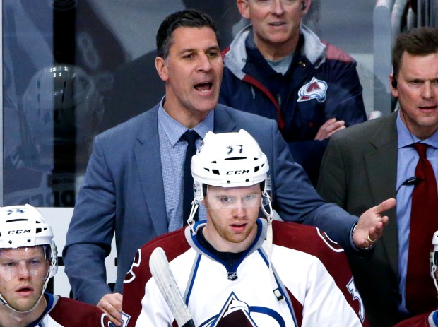 Colorado Avalanche coach Jared Bednar reacts ...