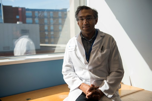 Dr. Rajeev Kumar poses for a portrait at Swedish Medical Center March 17 in Englewood.