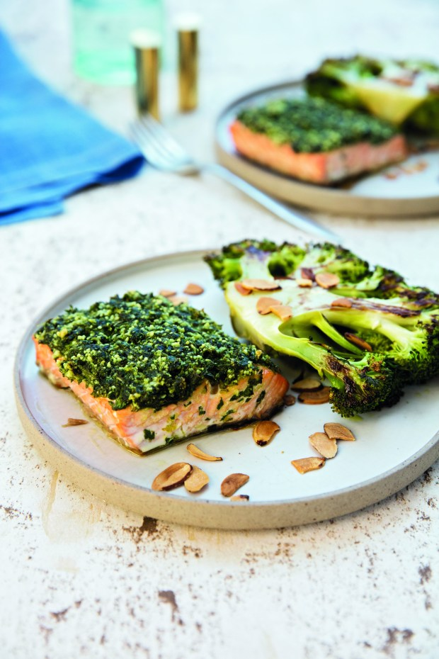Herb-crusted roasted salmon