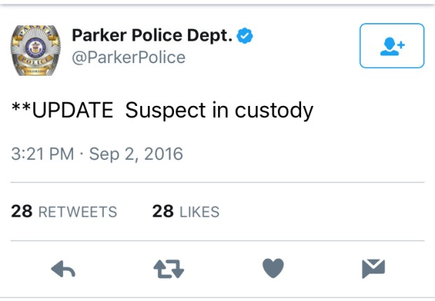 A screenshot from the Parker Police Department's Twitter feed.
