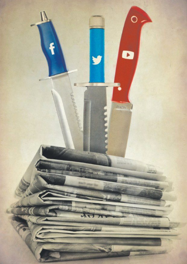 Knives of Twitter, Facebook and YouTube stabbing newspapers.
