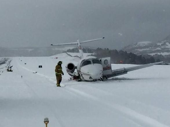 A photo of the crashed Hawker Beechjet 400 at Telluride Regional Airport on Dec. 23, 2015.
