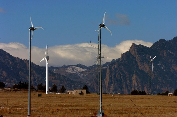 Wind turbines operate at NREL's National Wind Technology Center south of Boulder.
