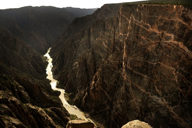 The Gunnison river flows through the Black Canyon National Park on May 14, 2009 where walls rise up as high as 2700 feet at its deepest part of the canyon.