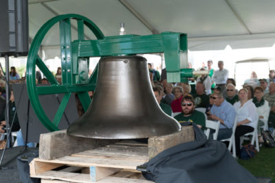 A photo of the Colorado State University Old Main bell after restoration