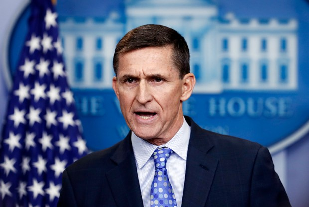 Then-National Security Adviser Michael Flynn speaks during the daily news briefing at the White House on Feb. 1.