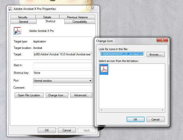 """To change the image of an icon in a Windows file shortcut, right click the icon and select """"Change icon."""""""