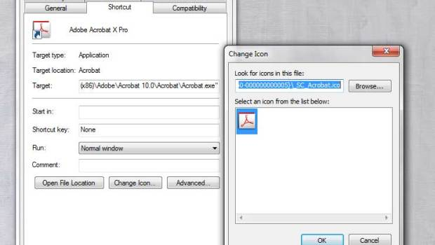 "To change the image of an icon in a Windows file shortcut, right click the icon and select ""Change icon."""