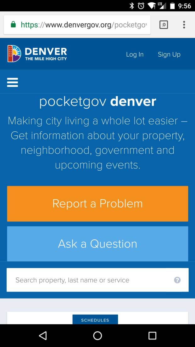 PocketGov, the mobile version of Denver's city services site, will get an upgrade as an actual mobile app. Shown is the existing mobile website.