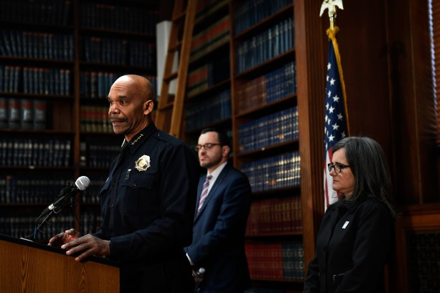 Denver Police Chief Robert White, speaking during a press conference to announce that a settlement has been reached with Jose Hernandez and Laura Sonia Rosales, parents of Jessica Hernandez, a 17-year-old shot and killed by police in July 2015 that also includes concessions designed to improve the relationship between the Denver Police Department and the city's Latino and gay youth at Parr Widener Room, Denver City County Building downtown. April 12, 2017, Denver, Colorado.
