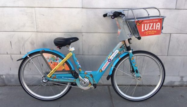 The bike is blue with Monarch butterflies.