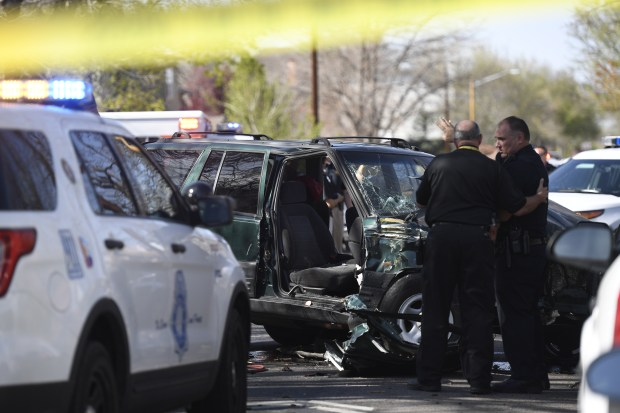 A car crashed into a Denver Public Schools bus on Thursday afternoon at the intersection of West 39th Avenue and Tejon Street in northwest Denver, Thursday afternoon April 13, 2017.