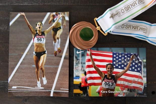 Photographs of Kara Goucher winning the ...