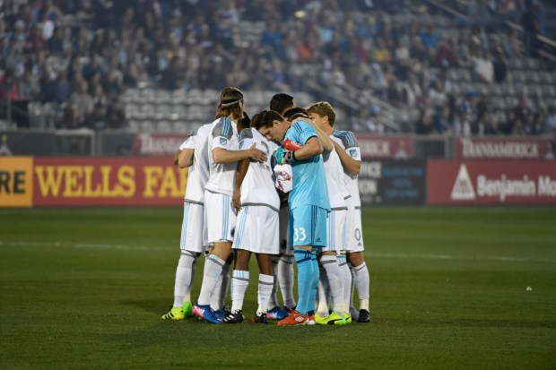 COMMERCE CITY, CO - MARCH 18: The Minnesota United soccer team huddles before the game against the Colorado Rapids at Dick's Sporting Goods Park March 18, 2017 in Commerce City, Colorado. (Photo by Andy Cross/The Denver Post)