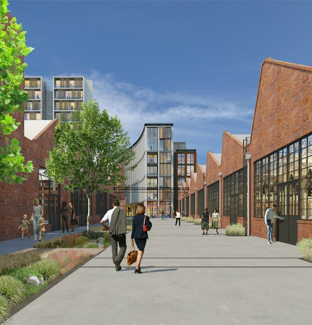 The $250 million Denver Rock Drill redevelopment will feature office, retail, residential and hotel uses in a mix of historic and new buildings in Denver's Cole neighborhood.