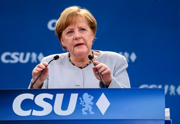 German Chancellor Angela Merkel delivers a speech on Sunday in Munich.