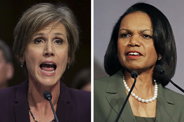 Former acting Attorney General Sally Yates and former Secretary of State Condoleezza Rice.