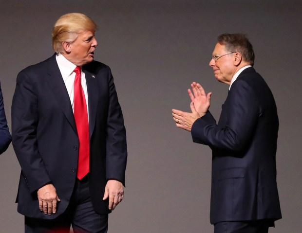 President Donald Trump and National Rifle Association Executive Vice President Wayne LaPierre appear together at the National Rifle Association Leadership Forum last Friday.