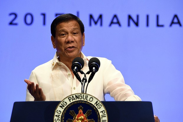 Philippine President Rodrigo Duterte speaks during an April 29 press conference in Manila.