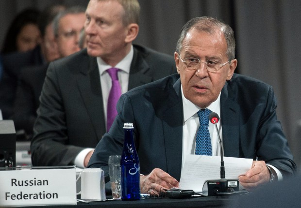 Russian Foreign Minister Sergei Lavrov speaks during a meeting of the Arctic Council on May 11 in Fairbanks, Alaska.