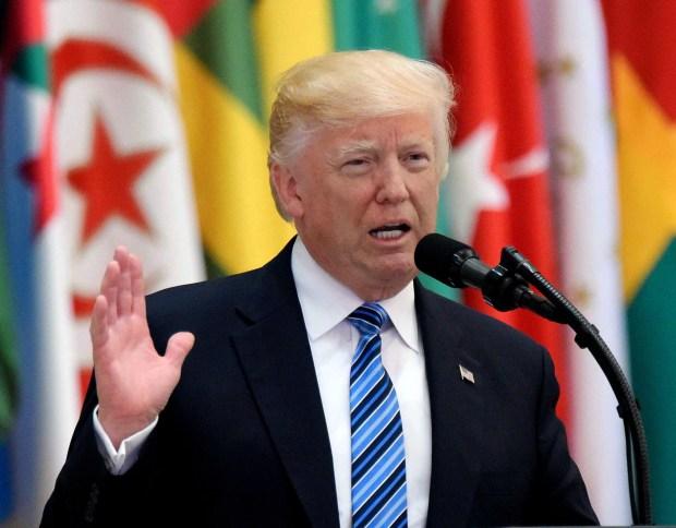 President Donald Trump speaks during the Arabic Islamic American Summit at the King Abdulaziz Conference Center in Riyadh, Saudi Arabia, on Sunday.