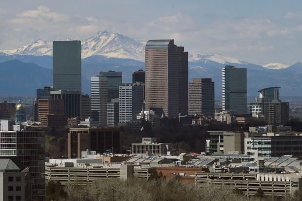 The skyline of Denver as seen from South Colorado Boulevard on April 4.