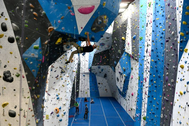 Chris Warner, CEO and founder of Earth Treks Climbing gym, does a morning climbing session at his gym on March 27, 2017 in Golden.