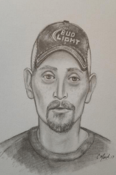 A composite sketch of the man accused of shooting a woman on I-25 through Denver last week.