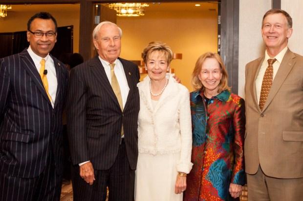 From left, Business School Dean Rohan Christie-David; University of Colorado President Bruce Benson; Marcy Benson; Doris Kearns Goodwin and Gov. John Hickenlooper.