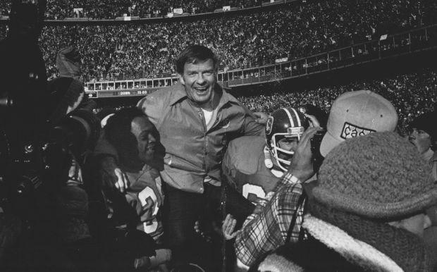 1f4bf5565 Former Broncos Billy Thompson and Glenn Hyde hoist Miller on their  shoulders after a game. (Denver Post file)