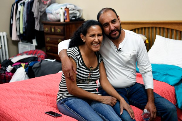 Arturo Hernandez Garcia visiting his friend from sanctuary Jeanette Vizguerra after he received a brief reprieve, as ICE released him from immigration detention May 3, 2017 in Denver.