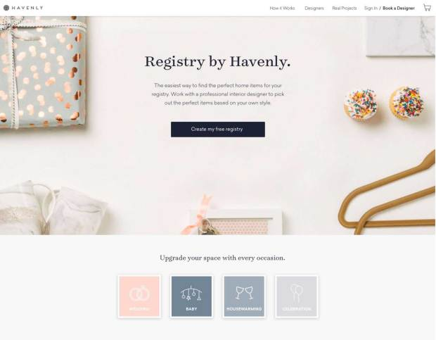 A screenshot of Registry by Havenly, a new service that gives customers access to personal suggestions from a professional interior designer for free. The company and designer makes money if the customer buys products.