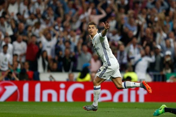 Real Madrid's Cristiano Ronaldo celebrates scoring ...