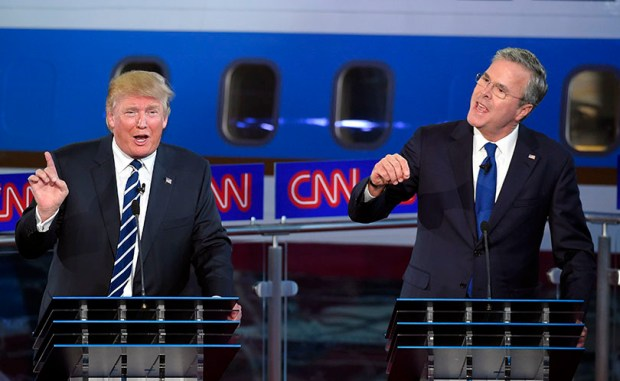 Republican presidential candidates Donald Trump and Jeb Bush speak during a Sept. 16, 2015 primary debate in Simi Valley, Calif.