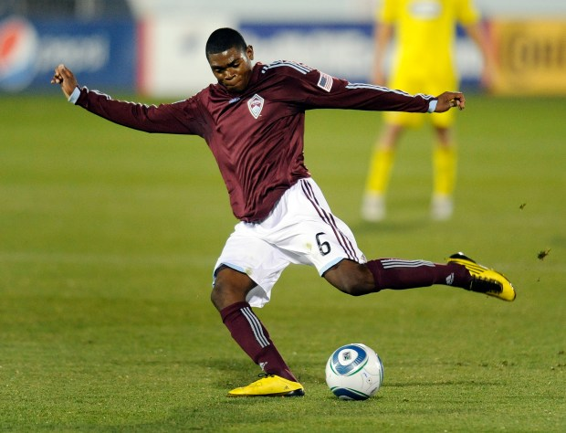 Rapids defender Anthony Wallace (6) cleared ...