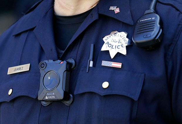 A San Francisco police wears a body camera while on patrol on June 6.