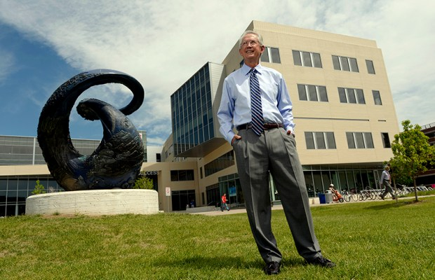 Stephen Jordan, who is retiring this week as president of Metropolitan State University of Denver, poses for a portrait outside Metro State's Student Success Building on June 14, 2013.