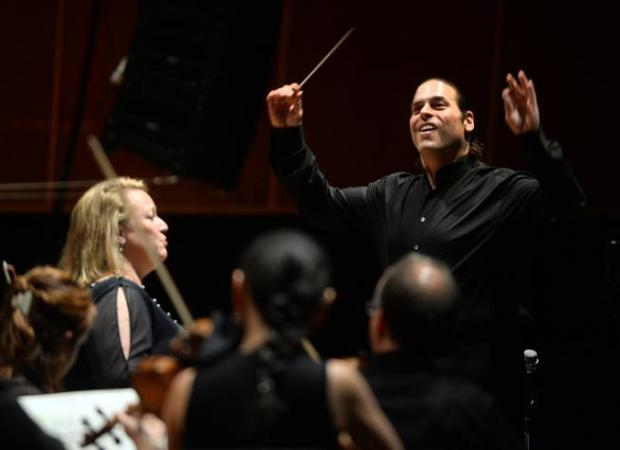 Jean-Marie Zeitouni works his magic during the final 2016 concert of Zeitouni's first season as music director of the Colorado Music Festival on Aug. 9 at Chautauqua Auditorium. Soprano Mary Wilson, left, was also performing.