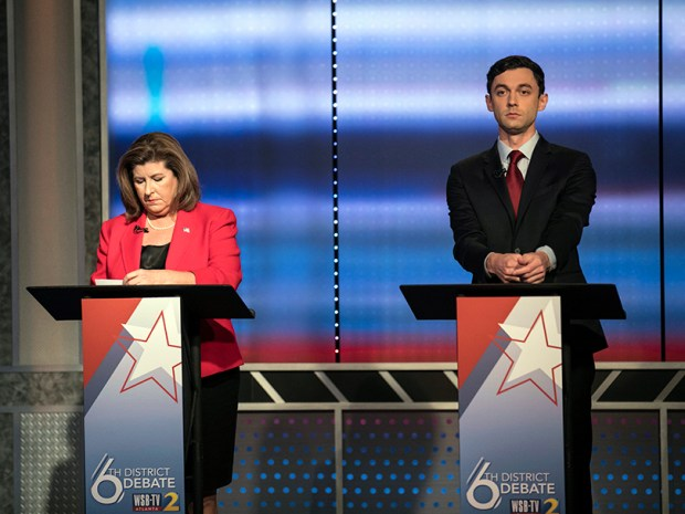 Candidates Republican Karen Handel and Democrat Jon Ossoff prepare for a debate on Tuesday in Atlanta in advance of the June 20 special election in Georgia's 6th Congressional District.
