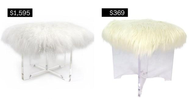 Mongolian lamb bench in white , ...