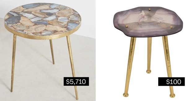Agate end table (anthropologie.com), left; glass agate accent table (target.com).