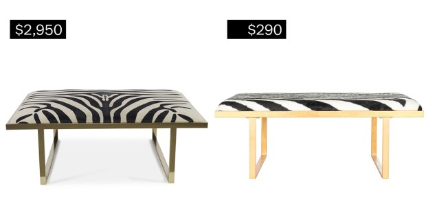 Kelly coffee table in brass with zebra pattern (taylorburkehome.com), left; Millie loft bench/coffee table in gold with zebra pattern (walmart.com).