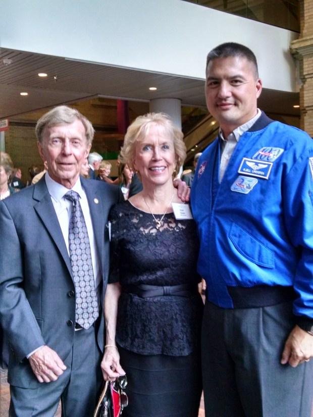 Col. William Obert, left, with gala chair Joan Obert and featured speaker Dr. Kjell Lindgren.
