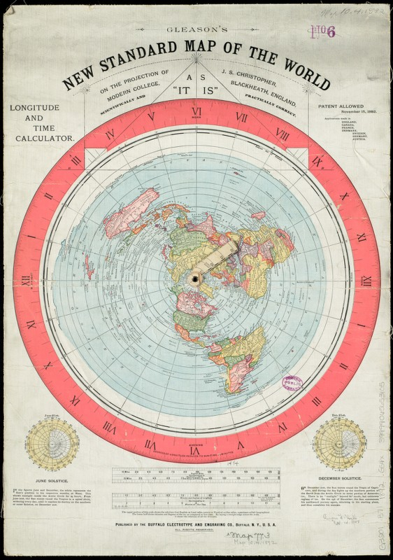 Gleason's 1892 New Standard map of the World, which flat earthers frequently cite as the most accurate projection.