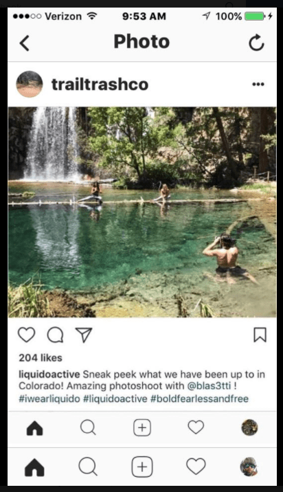 Brazilian sportswear company Liquido Active is getting roasted on social media after posting pictures of a photographer waist deep in the pristine waters of Hanging Lake, models posed on the log. (Screen capture from 14ers.com Facebook page)