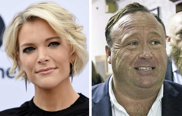 NBC's Megyn Kelly, left, and Alex Jones of Infowars.