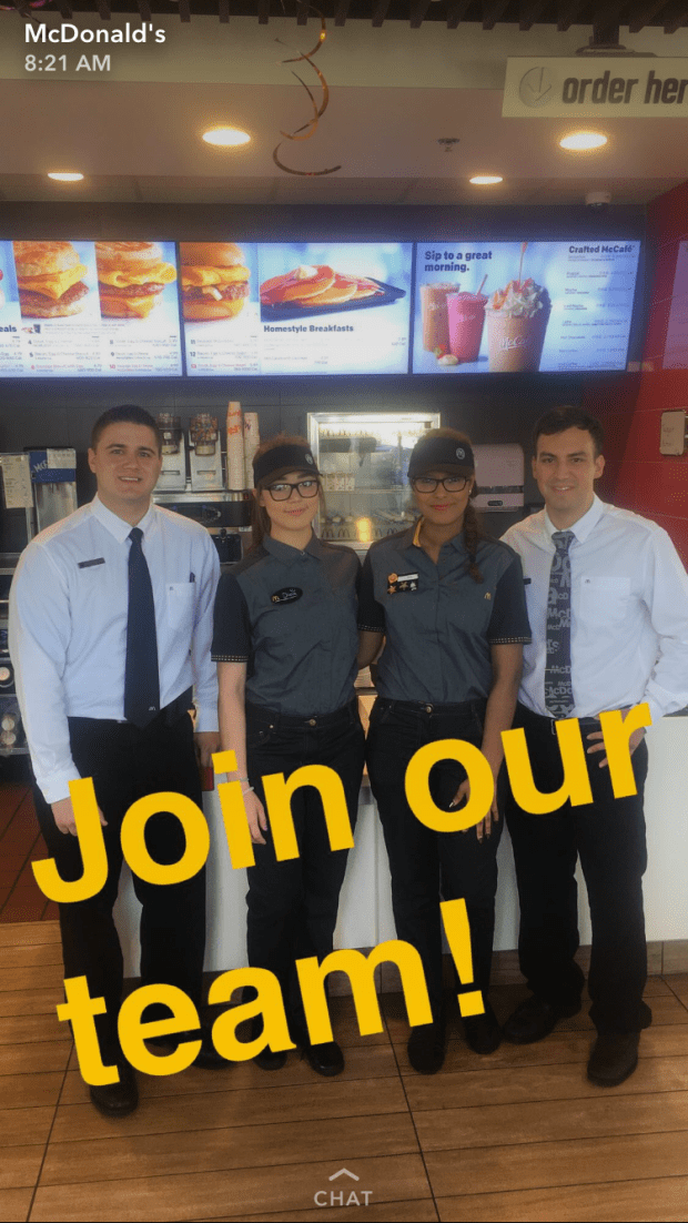 McDonald's is looking for a lot of young workers and is meeting them where they are, on Snapchat.